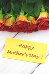 życzenia na dzień matki na tle przepięknych róż