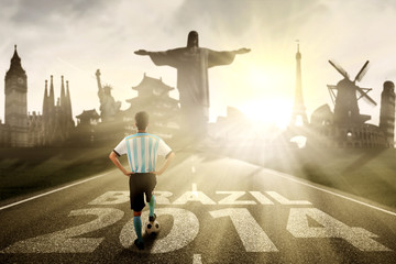 Argentine player standing on the road to brazil