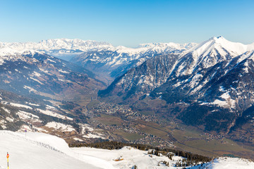 Ski resort Bad Gastein in snowy mountains, Austria
