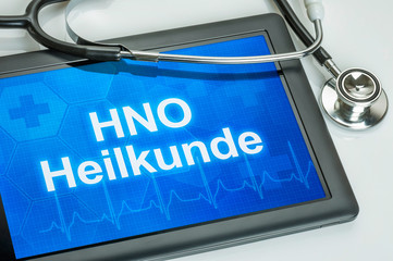 Tablet mit dem Fachgebiet HNO auf dem Display