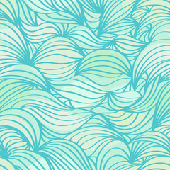 Abstract wave aquamarine seamless pattern