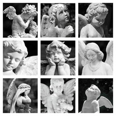 group of images with cemetery angelic figurines