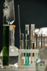 Test tubes, flask and glassware closeup