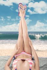 Beautiful woman legs in sandals
