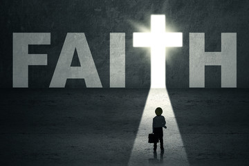 Boy walks toward faith door