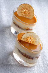 Italian caramel dessert in a glass