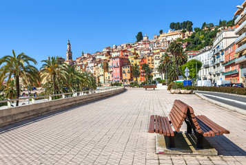 Promenade in town of Menton in France.