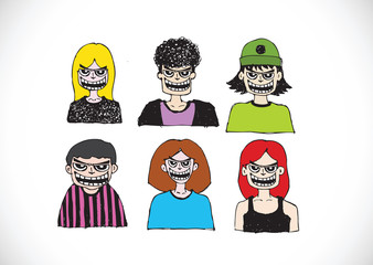 Cartoon faces Set hand drawing illustration