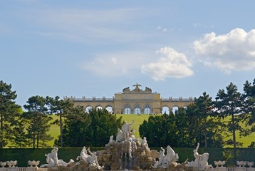 Garden of Schonbrunn Palace in Wien, Austria