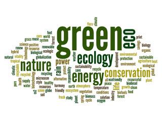 Conceptual green ecology word cloud