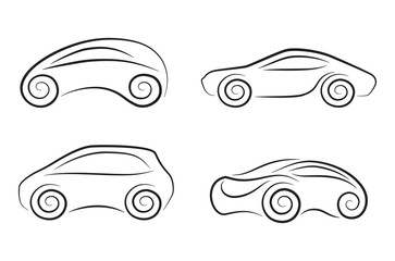 Set of vecto silhouettes of conceptual cars