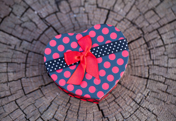 Heart Shape Gift Box on the Wood
