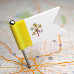 Vatican City Small Flag on a Map Background.