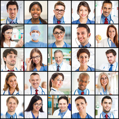 Collection of doctors faces