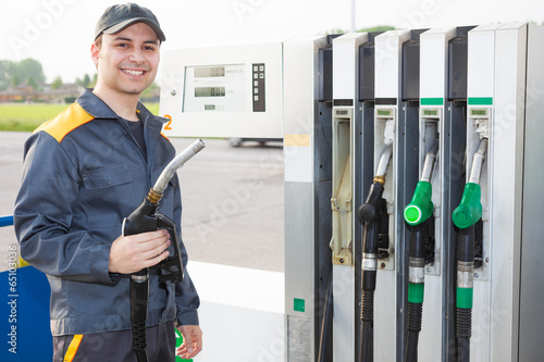Man working at a gas station