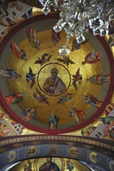 Stunning ceiling inside the Orthodox church in Capernaum, Israel