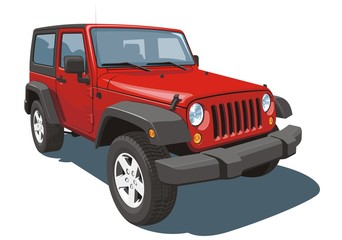 Vector isolated red off-road vehicle