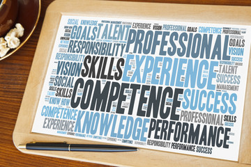 blackboard with competence word cloud