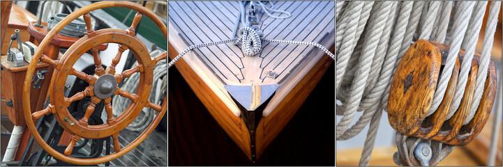 Collage mit maritimen Motiven, Segelboote