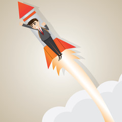 cartoon businessman rising with rocket