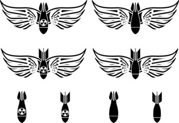 bombs with wings. stencils. second variant