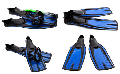 Set of blue swim fins, mask and snorkel for diving