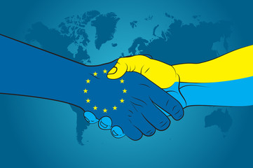 Handshake EU and Ukraine