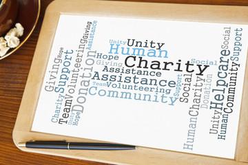 blackboard with Charity word cloud
