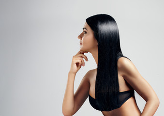 Woman with ideal black hair.