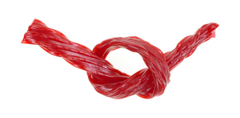 Red licorice tied in knot