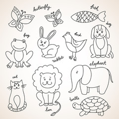 Vector hand drawn animals pets and wildlife zoo