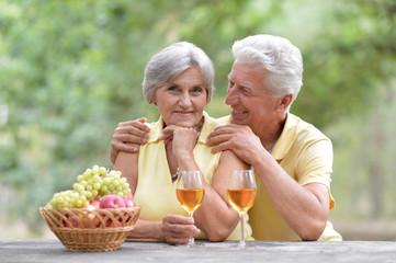 Elderly couple on nature