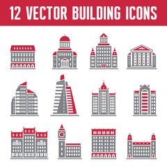 12 Vector Building Icons - Real Estate Signs Collection
