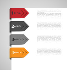 set of abstract business arrow tags with options