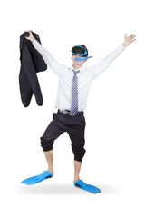 Successful businessman wearing snorkeling gear