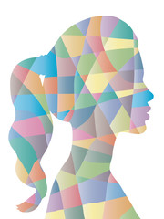 Abstract color polygon woman shape