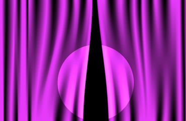 Luxury creases purple curtain with spotlight