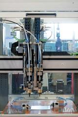 Welder machine in a factory closeup
