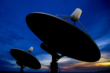 Satellite antenna in twilight