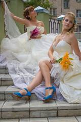 two happy brides