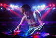 Disc jockey girl playing music with light beam effects on stage