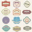 Colorful vintage and retro badges design with sample text (vecto