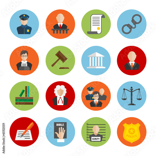 Law Flat Icons - 65112039