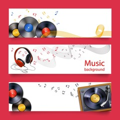 Vinyl record music banners