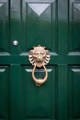 Close-up of a closed green door