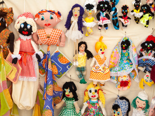 Puppets for sale at a market stall, Havana, Cuba