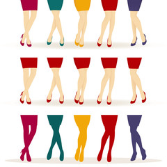 Female legs with colorful shoes
