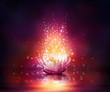 Leinwanddruck Bild - magic flower on water