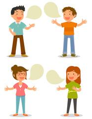 cartoon people talking happily