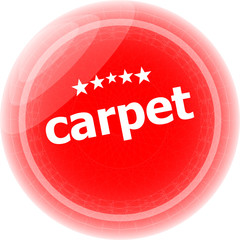 carpet word stickers red button, web icon button